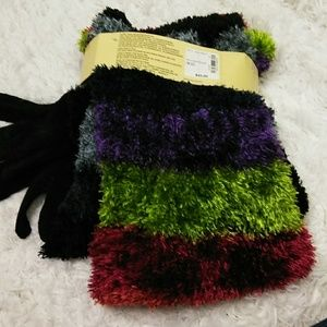 Feather Chenille Multi-Colored Scarf, Hat & Gloves